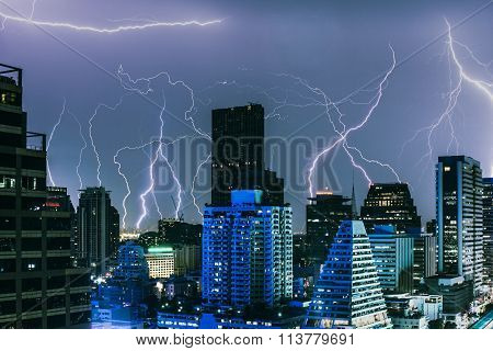 Lightning Storm In A Major Crowded City