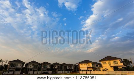 Beautiful Blue Sky And Clouds With Residential House Of Village, Property Real Estate Industry Backg