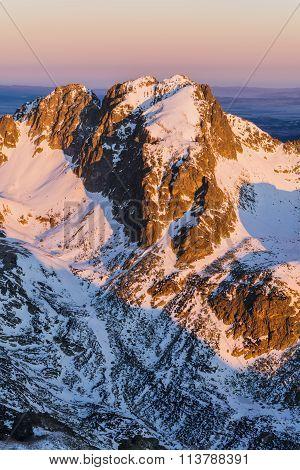 Peak In The Tatra Mountains In The Morning Sun.