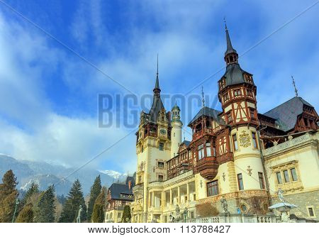 Peles Castle is a Neo-Renaissance castle in the Carpathian Mountains, near Sinaia, in Prahova County, Romania, on an existing medieval route linking Transylvania and Wallachia, built between 1873 and 1914. Its inauguration was held in 1883. poster