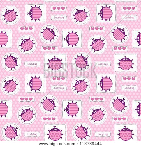 Pink patches with ladybirds and hearts seamless vector pattern