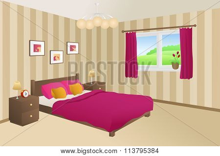 Modern bedroom beige pink bed yellow pillows lamps window illustration vector