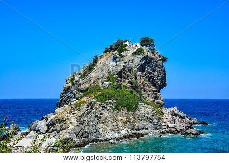 Mamma Mia church on top of a cliff, Skopelos, Greece
