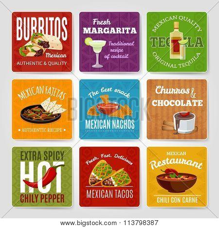 Mexican Food Labels Set