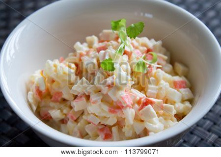 Crab salad with mayonnaise on table close up poster
