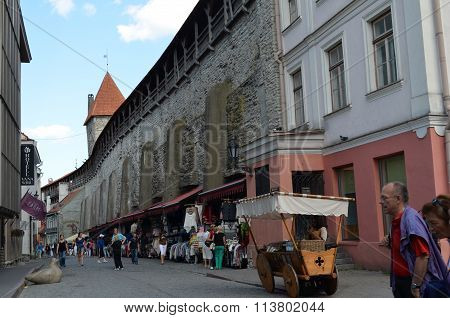 Picture of a TALLIN ESTONIA. 24 AUGUST 2015- Tourist view of Old Town architecture in Tallinn,  Estonia