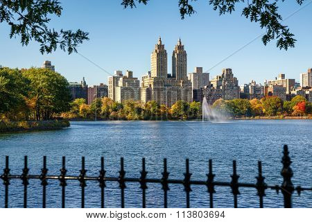 Central Park Reservoir And Upper West Side, Fall Foliage. Manhattan