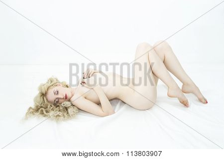 Young Beauty Nude Woman Isolated On White Background