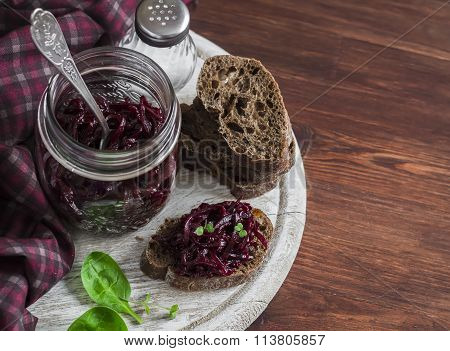 Beetroot Relish And Slices Of Rye Bread On Rustic Wooden Board. Healthy Breakfast Or Snack. Deliciou