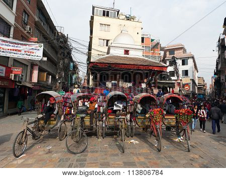 Typical Rickshas In Kathmandu City