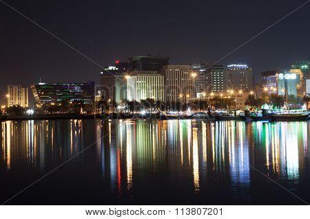 Doha Waterfront Buildings At Night