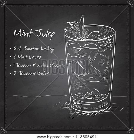 Cocktail Mint julep on black board