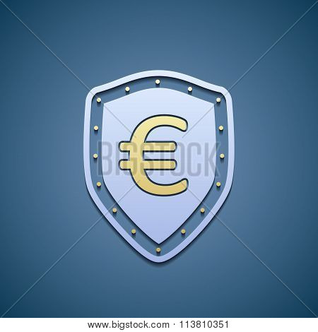 Euro Sign On A Shield.