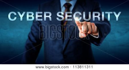 Manager Touching Cyber Security Onscreen
