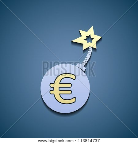 Euro Currency On A Bomb
