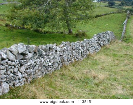Irish Stone Wall And Fields