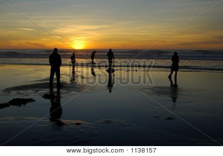 Beach Fun At Sunset