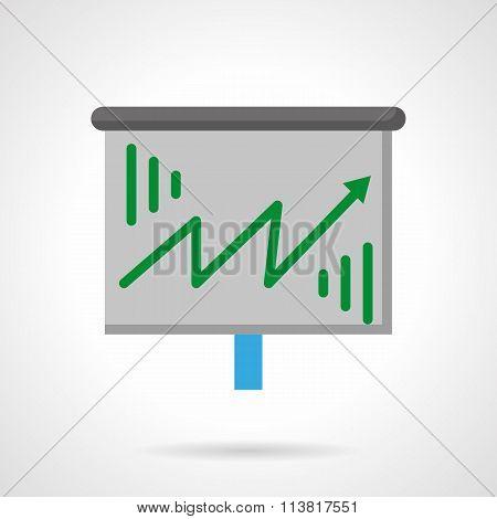 Green growth arrow flat color vector icon