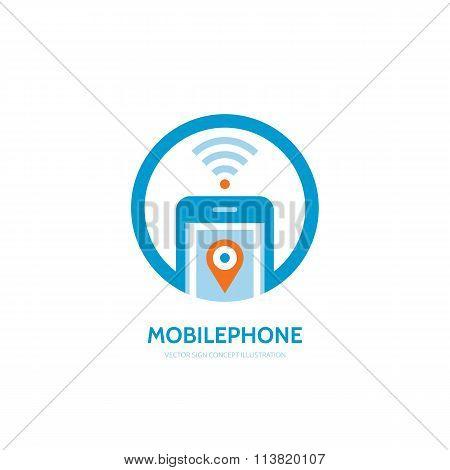 Mobile location vector logo concept illustration. Smarthone vector logo design. GPS location logo.