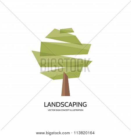 Abstract tree vector logo concept illustration. Landscaping concept sign. Nature logo sign.