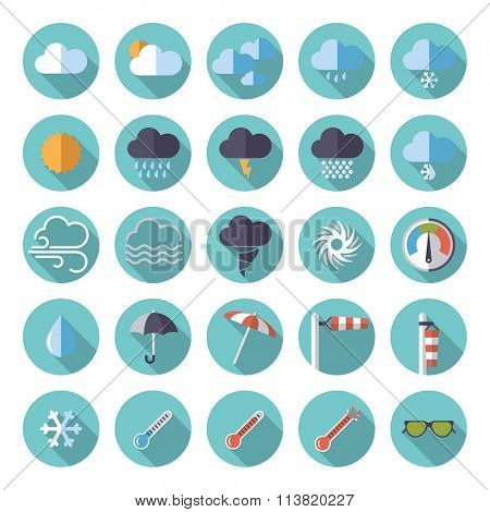 Flat design vector icon set. Collection of weather and climate related flat design vector icons