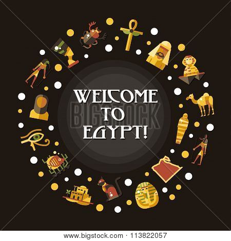 Flat design Egypt travel postcard with famous Egyptian symbols icons