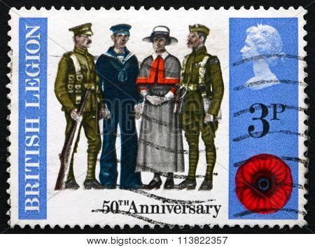 GREAT BRITAIN - CIRCA 1971: a stamp printed in Great Britain shows Soldier Sailor Airman and Nurse 50th Anniversary of the British Legion circa 1971