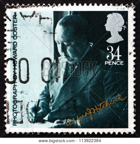 GREAT BRITAIN - CIRCA 1985: a stamp printed in Great Britain shows Sir Alfred Hitchcock Director circa 1985