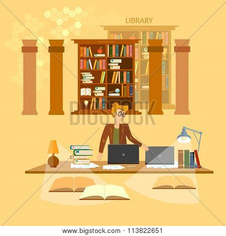 Online Library Education Concept Bookcases Librarian Vector Illustration