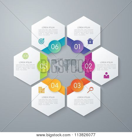 Vector illustration of paper infographics hexagons