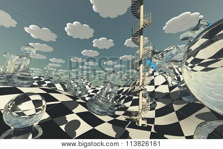 Surreal Chess board Landscape