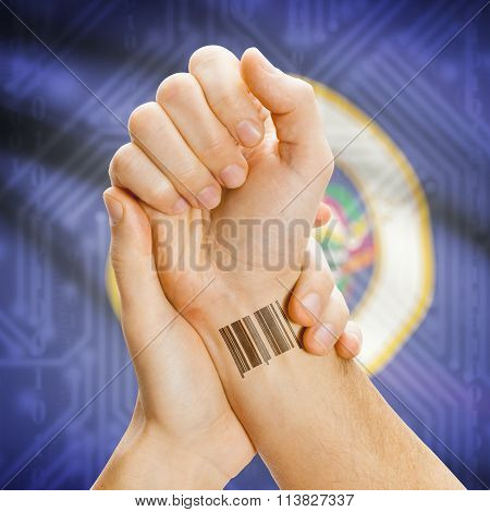 Barcode Id Number On Wrist And Usa States Flags On Background - Minnesota