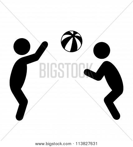 Summertime Pictogram Flat People Play with Beach Ball Icon Isola