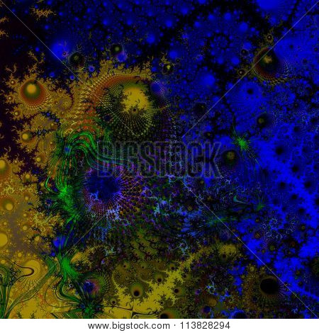 Abstract blue yellow fractal fantasy pattern