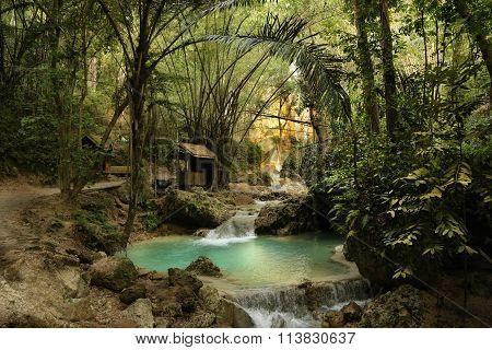 secret place in asia jungle with lagune