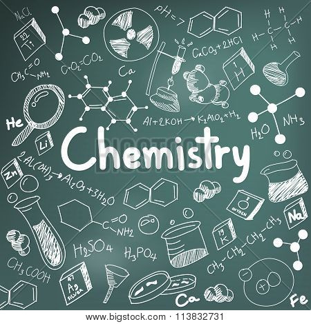 Chemistry Science Theory And Bonding Formula Equation, Doodle Handwriting And Tool Model Icon In Bla