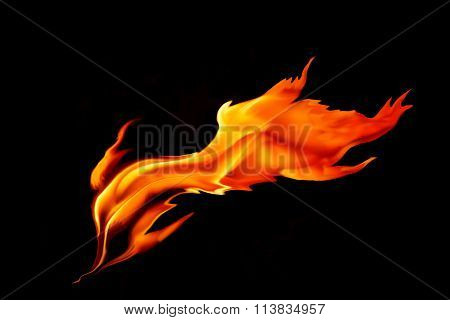 Red  Hot Flame On Black Background