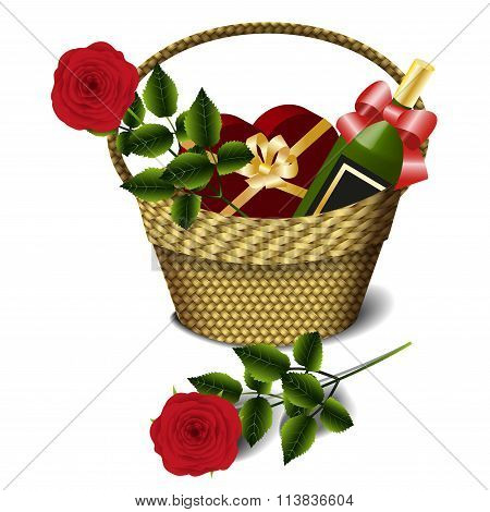 Basket, wine and red roses