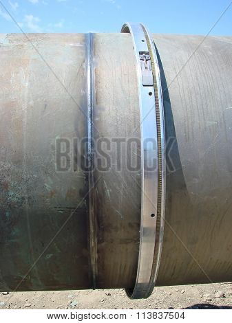 Welding seam on the pipeline. Technology of welding connections. poster