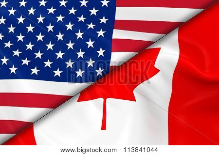 Flags Of The Usa And Canada Divided Diagonally - 3D Render Of The American Flag And Canadian Flag Wi