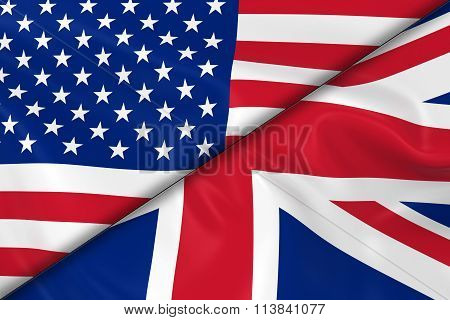 Flags Of The Usa And The Uk Divided Diagonally - 3D Render Of The American Flag And British Flag Wit