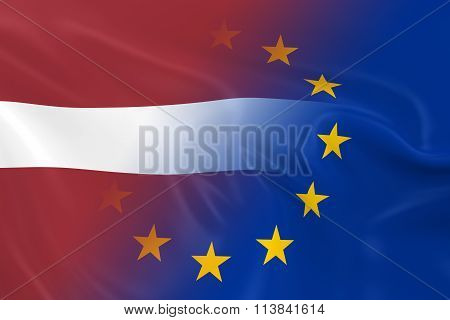 Latvian and European Relations Concept Image - Flags of Latvia and the European Union Fading Together poster