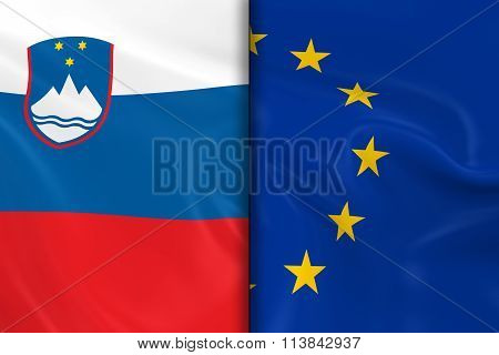 Flags Of Slovenia And The European Union Split Down The Middle - 3D Render Of The Slovenian Flag And