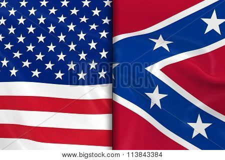 Flags Of The Usa And The Confederacy Split Down The Middle - 3D Render Of The American Flag And Conf