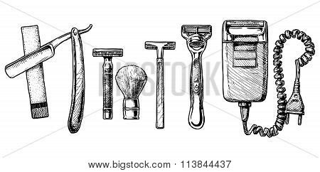 Vector Illustration Set Of Shaving Accessories
