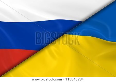 Flags of Russia and the Ukraine Divided Diagonally - 3D Render of the Russian Flag and Ukrainian Flag with Silky Texture poster