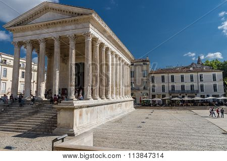 Roman Temple Maison Carree In City Of Nimes, France..