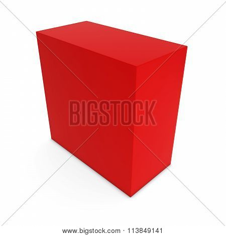 Blank Red Cuboid Isolated On White Background