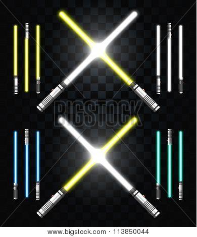 Light swords. Star war. Laser weapons, laser sword, neon sword