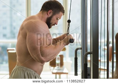 Sportsman doing pull-ups.